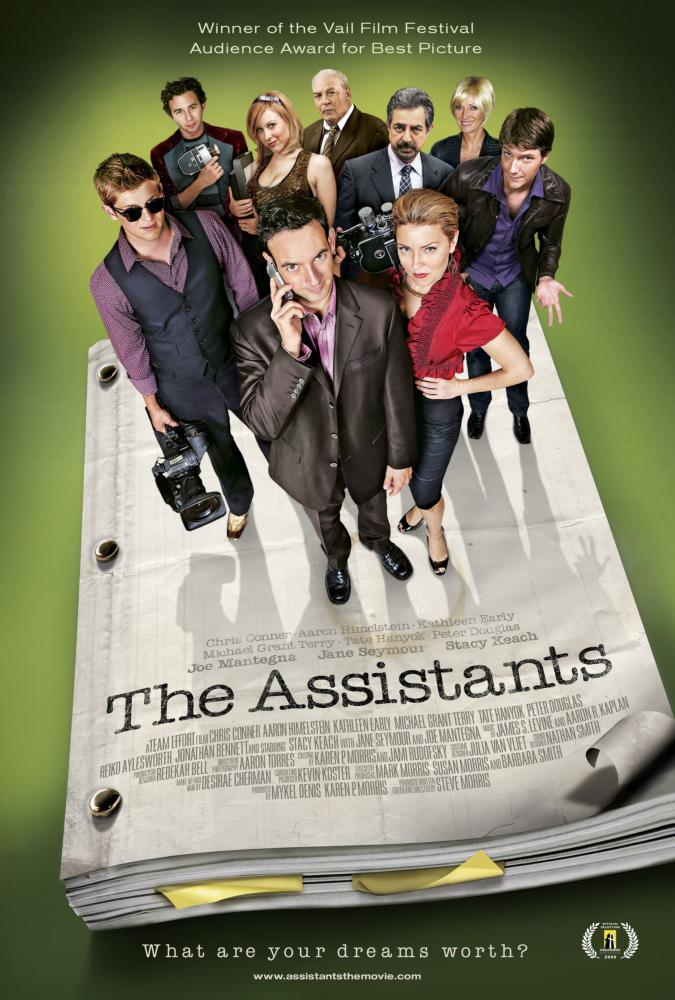 THE ASSISTANTS, poster art, back, from left: Aaron Himelstein, Tate Hanyok, Stacy Keach, Joe Mantegna, Jane Seymour, Peter Douglas, front three, from left: Michael Grant Terry, Chris Conner, Kathleen Early, 2009. ©Osiris Entertainment