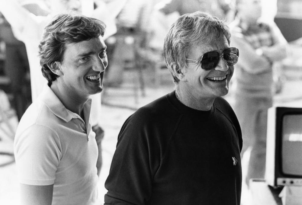 TRAIL OF THE PINK PANTHER, producer Tony Adams, producer and director Blake Edwards, on-set, 1982, (c) United Artists