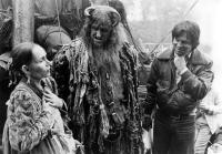 TIME BANDITS, Katherine Helmond, Peter Vaughan and Director/producer Terry Gilliam on set, 1981