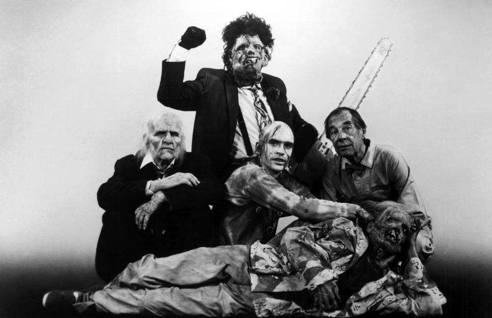 THE TEXAS CHAINSAW MASSACRE PART 2, (clockwise from left): Ken Evert, Bill Johnson, Jim Siedow, Bill Moseley, 1986, (c)Cannon Films