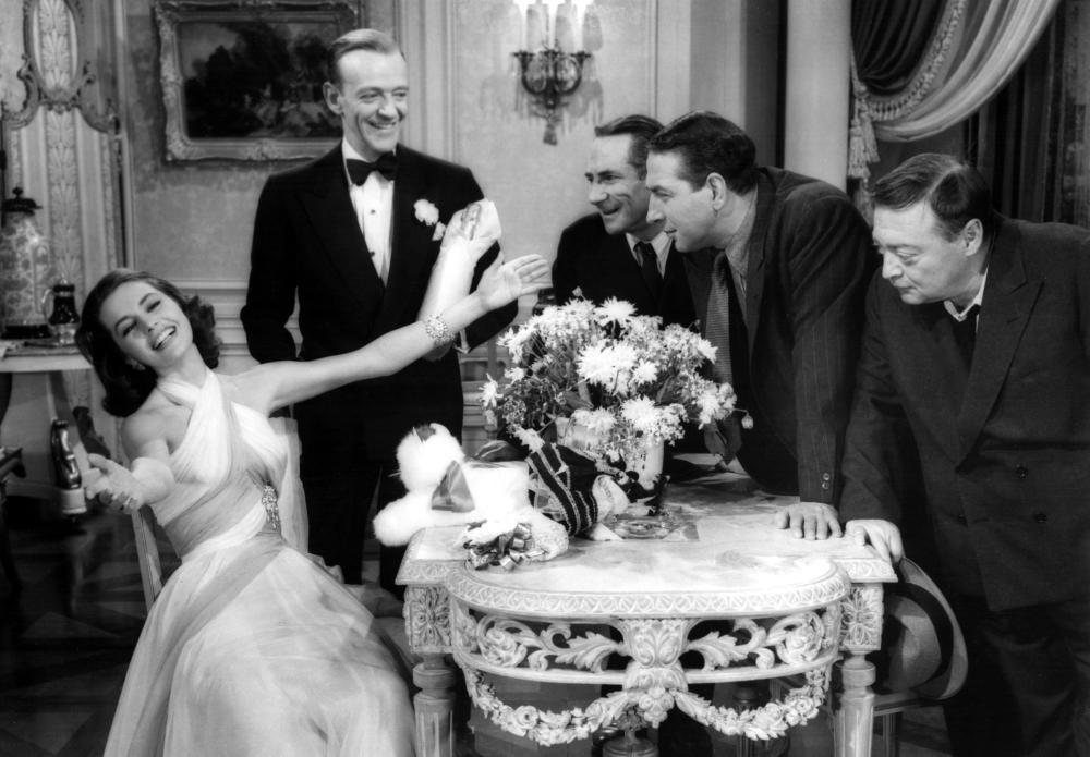 SILK STOCKINGS, Cyd Charisse, Fred Astaire, Joseph Buloff, Jules Munshin, Peter Lorre, 1957