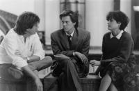 SHE'S HAVING A BABY, writer/director/producer John Hughes, Kevin Bacon, Elizabeth McGovern, on-set, 1988, (c) Paramount Pictures