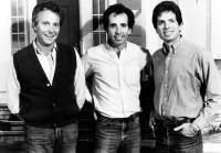 RUTHLESS PEOPLE, Jim Abrahams, Jerry Zucker, David Zucker, on set, 1986