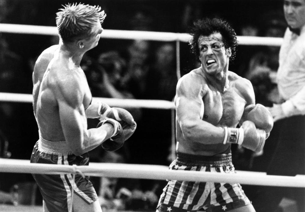 ROCKY IV, Sylvester Stallone, Dolph Lundgren, 1985