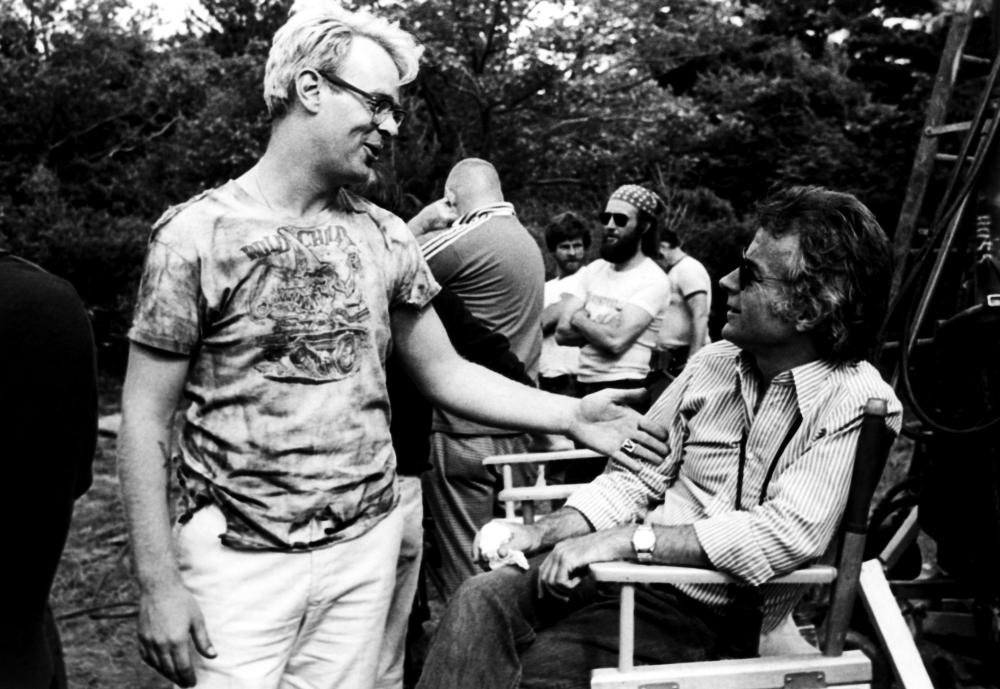 NEIGHBORS, Dan Aykroyd, director John G. Avildsen, on set, 1981. ©Columbia Pictures