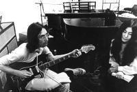 LET IT BE, John Lennon, Yoko Ono, 1970, rehearsing in the studio