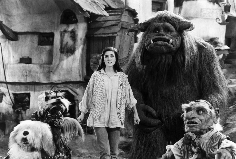 LABYRINTH, Sir Didymus (riding on Ambrosius), Jennifer Connelly, Ludo, Hoggle, 1986, (c)TriStar Pictures