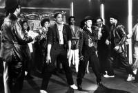 KRUSH GROOVE, Run (Joseph Simmons) (back to camera), Blair Underwood, Sheila E, Kurtis Blow (back), Jam Master Jay (Jason Mizell) (side right), 1985