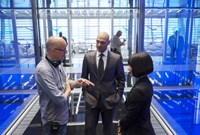 ANT-MAN, from left: director Peyton Reed, Corey Stoll, Evangeline Lilly, on set, 2015. ph: Zade Rosenthal/©Walt Disney Studios Motion Pictures