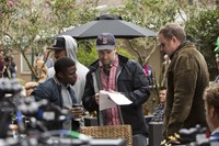 GET HARD, from left: Kevin Hart, director Etan Cohen, writer Ian Roberts, on set, 2015. ph: Patti Perret/©Warner Bros. Pictures