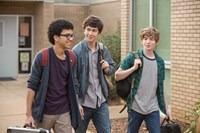 PAPER TOWNS, from left: Justice Smith, Nat Wolff, Austin Abrams, 2015. ph: Michael Tackett/TM & copyright © 20th Century Fox Film Corp. All rights reserved