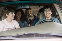PAPER TOWNS, from left: Austin Abrams, Jaz Sinclair, Halston Sage, Justice Smith, Nat Wolff, 2015. ph: Michael Tackett/TM & copyright © 20th Century Fox Film Corp. All rights reserved
