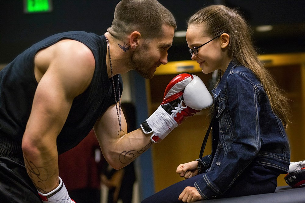 SOUTHPAW, from left: Jake Gyllenhaal, Oona Laurence, 2015. ph: Scott Garfield/© Weinstein Company
