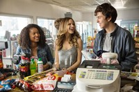 PAPER TOWNS, from left: Jaz Sinclair, Halston Sage, Nat Wolff, 2015. ph: Michael Tackett/TM & copyright © 20th Century Fox Film Corp. All rights reserved