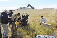 WOLF TOTEM, director Jean-Jacques Annaud (left), FENG Shaofeng (right), on set, 2015. ©Mars Distribution