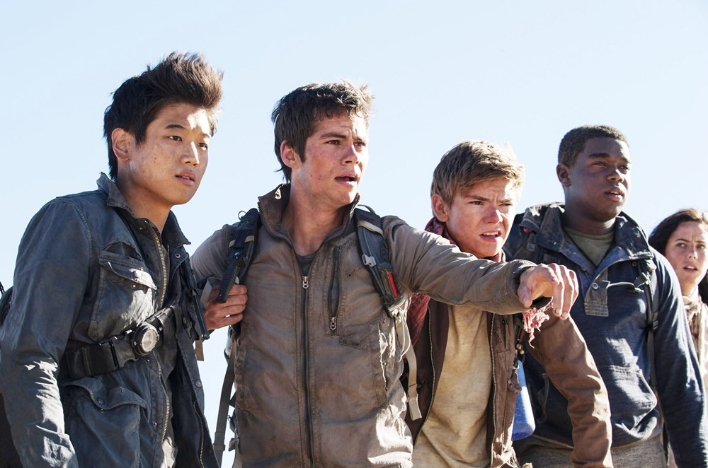 MAZE RUNNER: THE SCORCH TRIALS, from left: Ki Hong Lee, Dylan O'Brien, Thomas Brodie-Sangster, Dexter Darden, Kaya Scodelario, 2015. ph: Richard Foreman Jr./TM and Copyright ©20th Century Fox Film Corp. All rights reserved.
