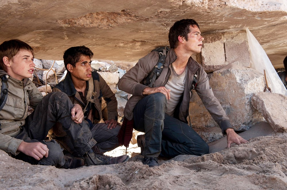 MAZE RUNNER: THE SCORCH TRIALS, from left: Jacob Lofland, Alexander Flores, Dylan O'Brien, 2015. ph: Richard Foreman Jr./TM and Copyright ©20th Century Fox Film Corp. All rights reserved.