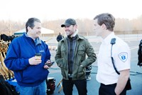 90 MINUTES IN HEAVEN, (aka NINETY MINUTES IN HEAVEN), producer Rick Jackson (left), director Michael Polish (center), on set, 2015. ph: Quantrell Colbert