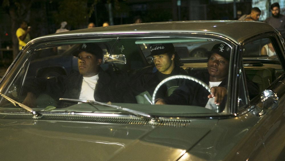STRAIGHT OUTTA COMPTON, from left: Corey Hawkins, as Dr. Dre, O'Shea Jackson Jr., as Ice Cube, Jason Mitchell, as Eazy-E, 2015. ph: Jamie Trueblood/©Universal Pictures