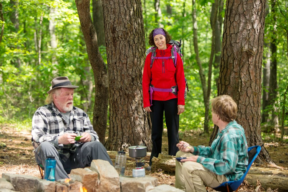A WALK IN THE WOODS, l-r: Nick Nolte, Kristen Schaal, Robert Redford 2015. ph: Frank Masi/©Broad Green Pictures