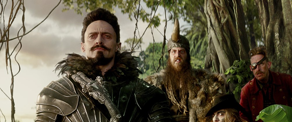 PAN, from left: Hugh Jackman as Blackbeard, Phill Martin, Jimmy Vee, Neil Bell, 2015. © Warner Bros. Pictures