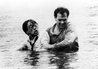 GUNG HO, Gedde Watanabe, Michael Keaton, 1986. ©Paramount