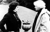 GOTHIC, Gabriel Byrne, director Ken Russell on set, 1986, (c) Vestron Pictures