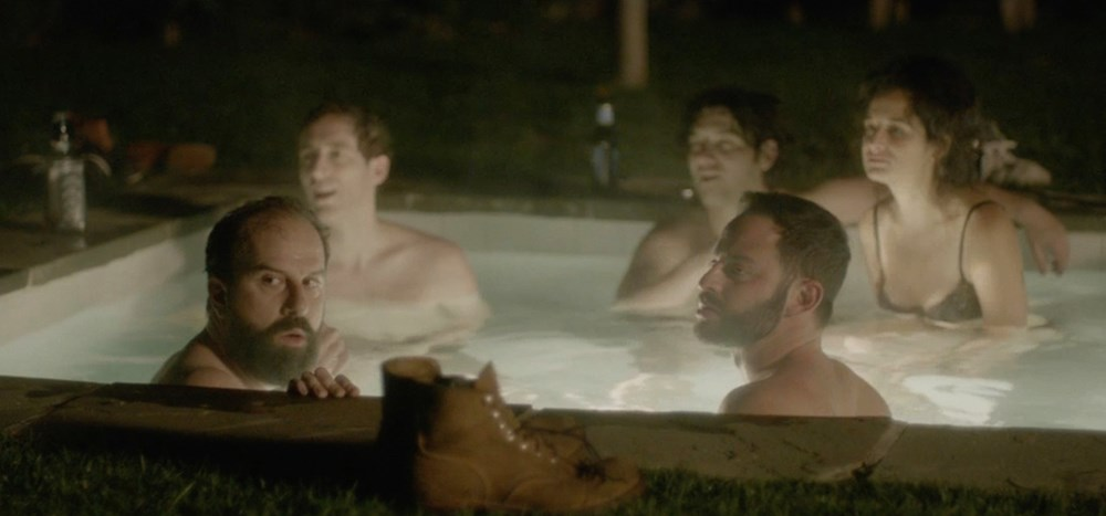 JOSHY, Brett Gelman (left), Thomas Middleditch (back left), Nick Kroll (right, beard), Jenny Slate (back right), 2016.