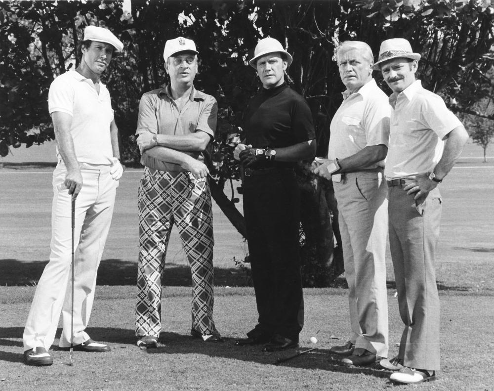 CADDYSHACK, Chevy Chase, Rodney Dangerfield, Dan Resin, Ted Knight, Brian Doyle-Murray, 1980. (c)Orion Pictures..