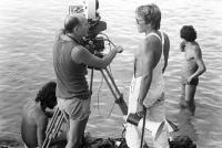 THE BLUE LAGOON, cinematographer Nestor Almendros (left), director Randal Kleiser (right), on-set, 1980, (c) Columbia Pictures
