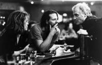 BARFLY, Faye Dunaway,Mickey Rourke, director Barbet Schroeder, on-set, 1987, ©Cannon Films /