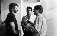 BAD INFLUENCE, director Curtis Hanson, Rob Lowe, James Spader, on-set, 1990, ©Triumph Releasing Corp. .