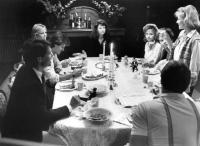 APRIL FOOL'S DAY, (clockwise from l) Ken Olandt, Jay Baker, Amy Steel, Deborah Foreman, Deborah Goodrich, Clayton Rohner, Leah Pinsent 1986. (c)Paramount