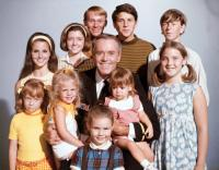YOURS, MINE AND OURS, center: Henry Fonda; top 5 from left: Nancy Roth, Morgan Brittany (billed as Suzanne Cupito), Gil Rogers, Tim Matheson, Gary Goetzman; bottom 5 from left: Michele Tobin, Tracy Nelson, Maralee Foster, Stephanie Oliver, Holly O'Brien, 1