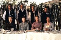 WYATT EARP, (standing l-r): Michael Madsen, Kevin Costner, Linden Ashby, David Andrews, (seated l-r): Catherine O'Hara, Mare Winningham, Alison Elliott, JoBeth Williams, 1994, ©Warner Bros.