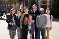 MIDDLE SCHOOL: THE WORST YEARS OF MY LIFE, from left: Isabela Moner, Thomas Barbusca, Jacob Hopkins, Griffin Gluck, Alexa Nisenson, writer James Patterson, Luke Hardeman, Jessi Goei, 2016. ph: Frank Masi/© CBS
