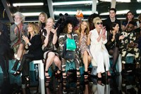 ABSOLUTELY FABULOUS: THE MOVIE, front, from left: Lulu, Gwendoline Christie, Jennifer Saunders, Abbey Clancy, Joanna Lumley, Sadie Frost, Tinie Tempah, 2016. ph: David Appleby/TM & copyright © Fox Searchlight Pictues. All rights reserved.