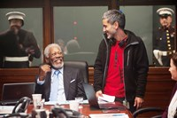 LONDON HAS FALLEN, from left: Morgan Freeman, director Babak Najafi, on set, 2015. ph: David Appleby/© Focus Features