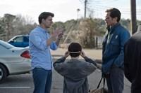 MIDNIGHT SPECIAL, from left: director Jeff Nichols, Jaeden Lieberher, Michael Shannon, on set, 2016. ph: Ben Rothstein/© Warner Bros.