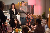 HELLO, MY NAME IS DORIS, standing l-r: Sally Field, Max Greenfield, seated l-r: Nnamdi Asomugha, Catherine Kresge, Rich Sommer, 2015. ph: Aaron Epstein/©Roadside Attractions