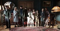 MISS PEREGRINE'S HOME FOR PECULIAR CHILDREN, l-r: Finlay Macmillan, Ella Purnell, Asa Butterfield, Milo Parker, Thomas Odwell, Pixie Davies, Joseph Odwell, Raffiella Chapman, Georgia Pemberton, Hayden Keeler-Stone, Lauren McCrostie, C. King, 2016. ph: Jay Maidment/TM & copyright © 20th Century Fox Film Corp. All rights reserved