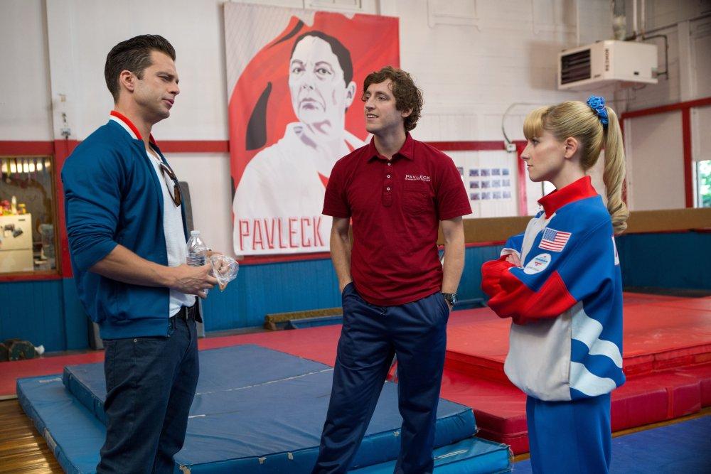 THE BRONZE, from left: Sebastian Stan, Thomas Middleditch, Melissa Rauch, 2015. ph: Alicia Gbur/© Sony Pictures Classics