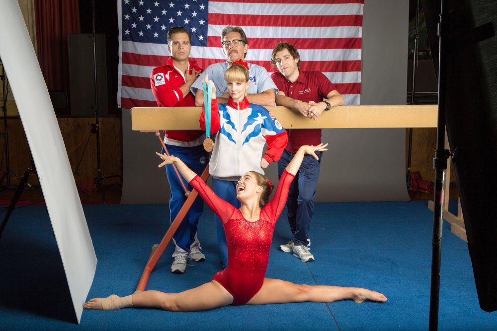 THE BRONZE, from left: Sebastian Stan, Gary Cole, Thomas Middleditch, with medal: Melissa Rauch, bottom: Haley Lu Richardson, 2015. ph: Alicia Gbur/© Sony Pictures Classics