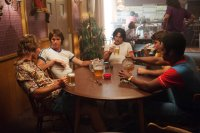 EVERYBODY WANTS SOME!!, from left: Glen Powell, Blake Jenner, Ryan Guzman, Temple Baker, J. Quinton Johnson, 2016. ph Van Redin/© Paramount Pictures