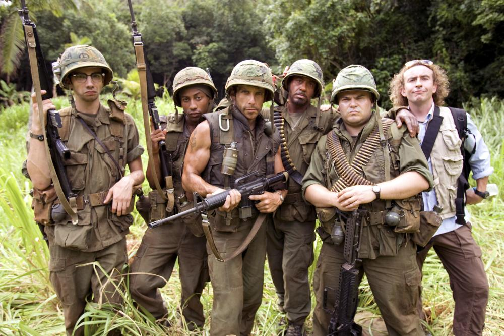 TROPIC THUNDER, Jay Baruchel, Brandon T. Jackson, Ben Stiller, Robert Downey Jr., Jack Black, Steve Coogan, 2008. ©DreamWorks Distribution