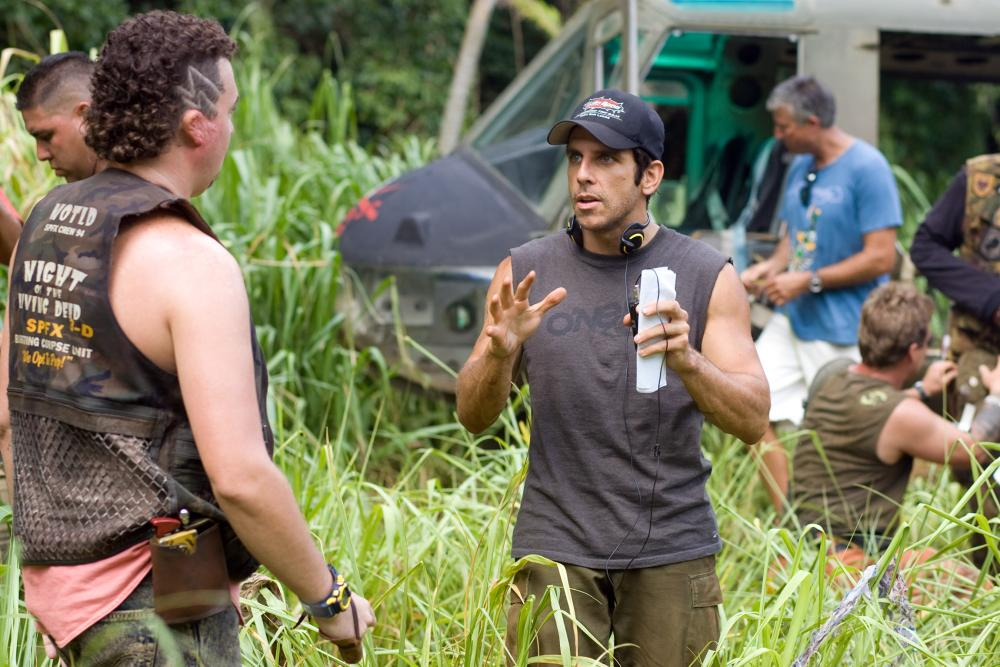 TROPIC THUNDER, foreground from left: Danny McBride, director Ben Stiller, on set, 2008. ©DreamWorks Distribution