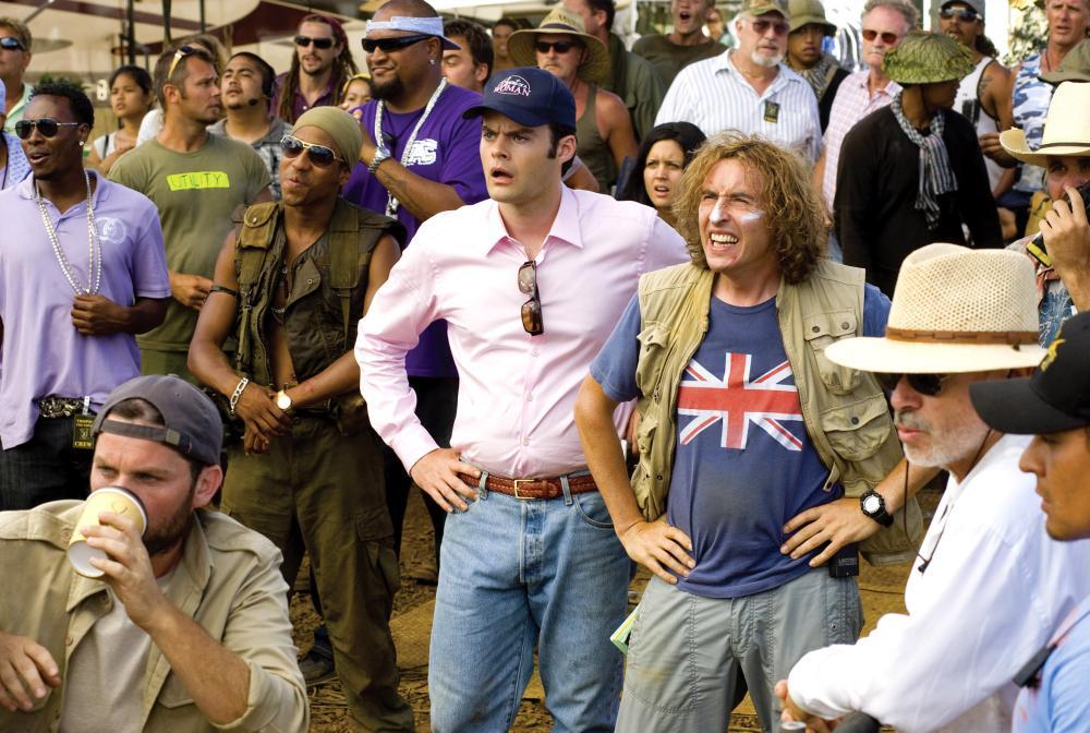TROPIC THUNDER, foreground center from left:  Bill Hader (pink shirt), Steve Coogan (union jack shirt), 2008. ©DreamWorks Distribution