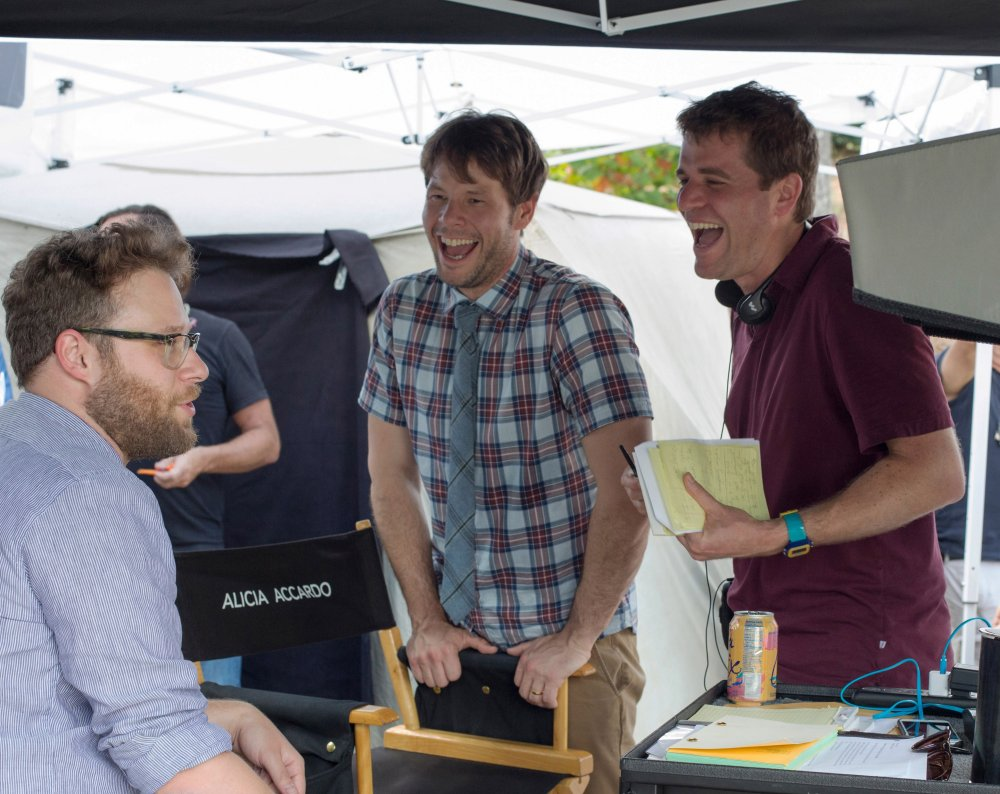 NEIGHBORS 2: SORORITY RISING, Seth Rogen, Ike Barinholtz, director Nicholas Stoller on set, 2016. ph: Chuck Zlotnick/©Universal Pictures