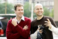 STRANGER THAN FICTION, Will Ferrell, director Marc Forster, on set, 2006. (c) Sony Pictures