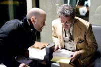 STRANGER THAN FICTION, director Marc Forster, Dustin Hoffman, on set, 2006. (c) Sony Pictures